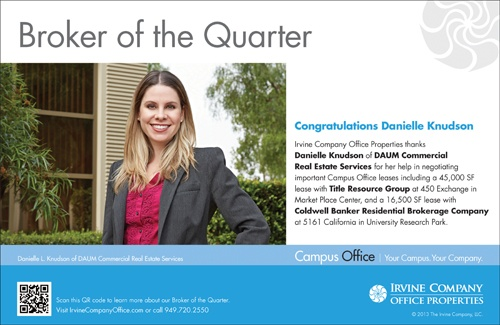 DANIELLE KNUDSON NAMED BROKER OF THE QUARTER BY THE IRVINE COMPANY